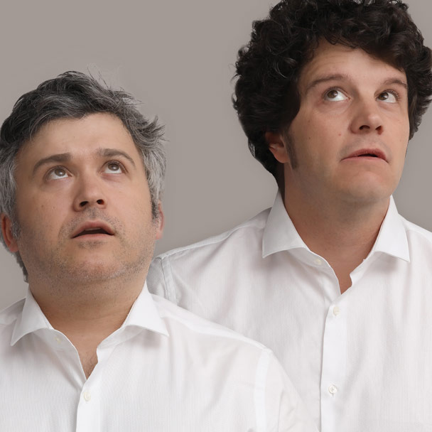 Marcos Pereiro e Xosé A. Touriñán no espectáculo Agora en serio